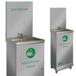 hand sanitiser dispenser with splashback